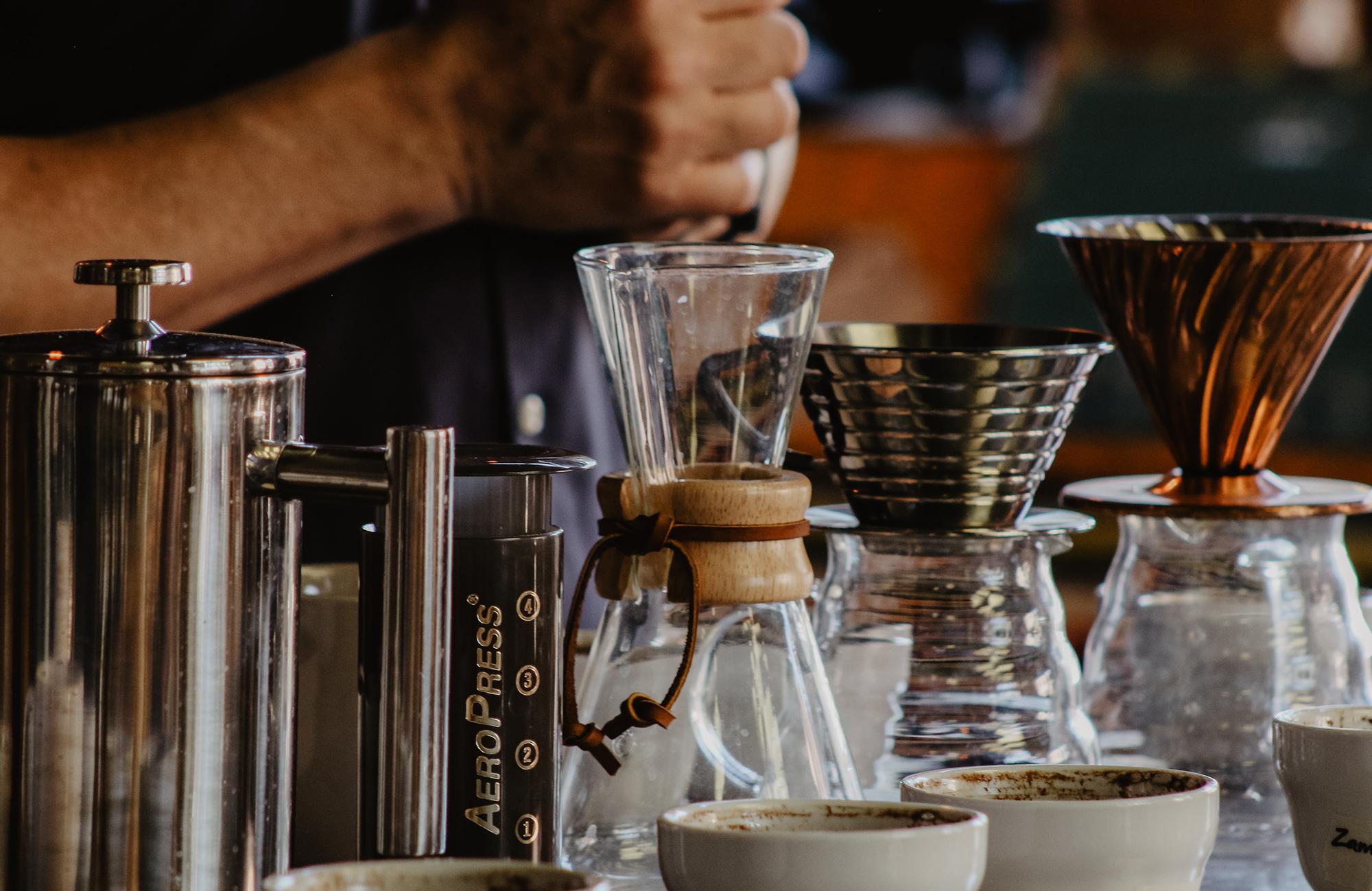 Filter Coffee brewing tools including V60, Chemex & Aeropress